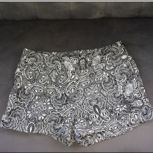 Express black & white paisley shorts